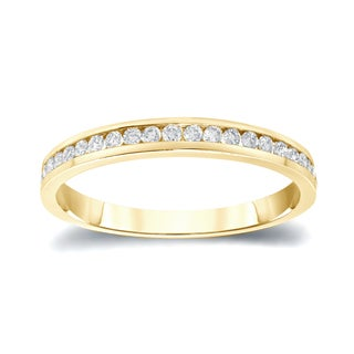 Auriya 14k Gold 1/4ct TDW Round Cut Diamond Channel Wedding Band