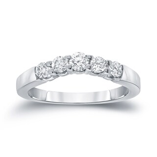 Auriya 14k White Gold 3/5ct TDW Round-Cut Diamond Wedding Band (I-J, SI1-SI2)