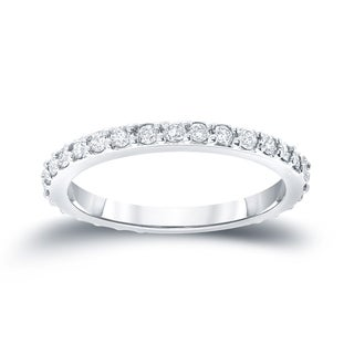 Auriya 14k White Gold 1/2ct TDW Round Cut Diamond Wedding Band