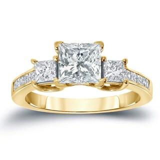 Auriya 3-Stone 2ctw Princess-Cut Diamond Engagement Ring 14k Gold Certified