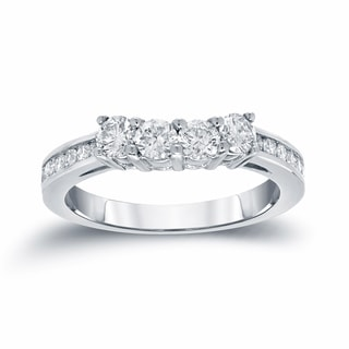 Auriya 14k White Gold 7/8ct TDW Round-Cut Diamond Wedding Band (H-I, SI2-SI3)