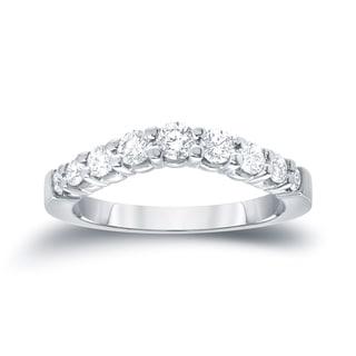 Auriya 14k White Gold 3/5ct TDW Round Cut Diamond Wedding Band (I-J, SI1-SI2)