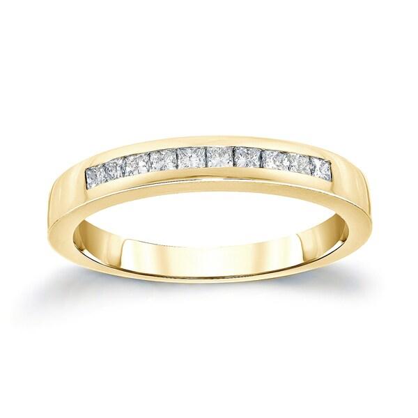 Auriya 14k Gold 1/2ct TDW Channel-Set Princess-Cut Diamond Wedding Band