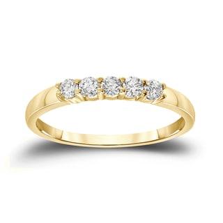 Auriya 14k Gold 1/4ct TDW Round Cut Diamond Wedding Band (H-I, SI2-SI3)