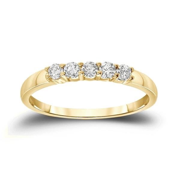 Auriya 14k Gold 1/4ctw 5-Stone Diamond Wedding Band