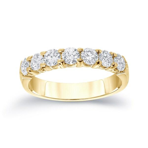 Auriya 14k Gold 1/2ct TDW Round Diamond Anniversary Wedding Band
