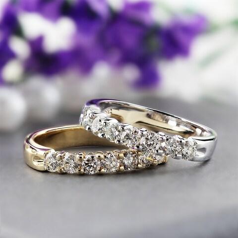 Auriya 14k Gold 1/2ct TDW Round 7-Stone Diamond Wedding Band