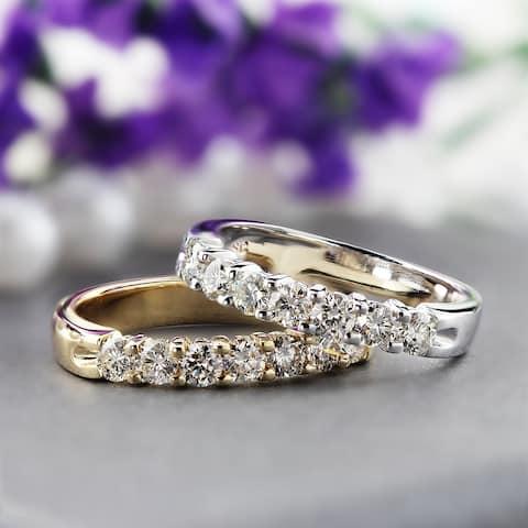 Auriya 14k Gold 1/2ctw Round 7 Stone Diamond Wedding Band