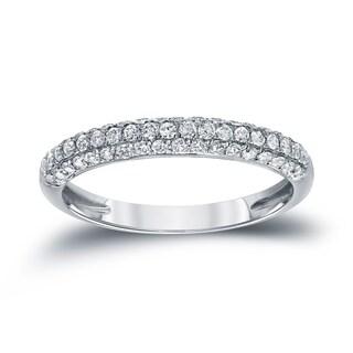 Auriya 14k White Gold 1/2ct TDW Round Cut Diamond Wedding Band (H-I, I1-I2)