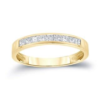 Auriya Channel-Set Princess-Cut Diamond Wedding Band 1/2ct TDW 14k Gold