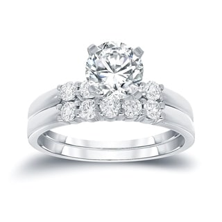 Auriya 14k Gold 1ct TDW Round Cut Diamond Bridal Ring Set (H-I, SI2-SI3)
