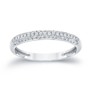 Auriya 14k White Gold 1/4ct TDW Round-Cut Diamond Wedding Band