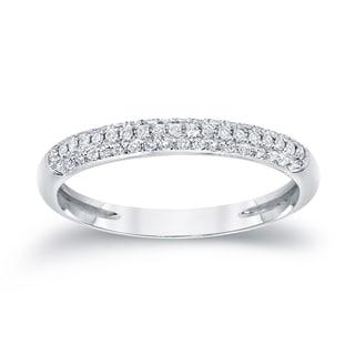 Auriya 14k White Gold 1/4ct TDW Round-Cut Diamond Wedding Band (G-H, SI1-SI2)