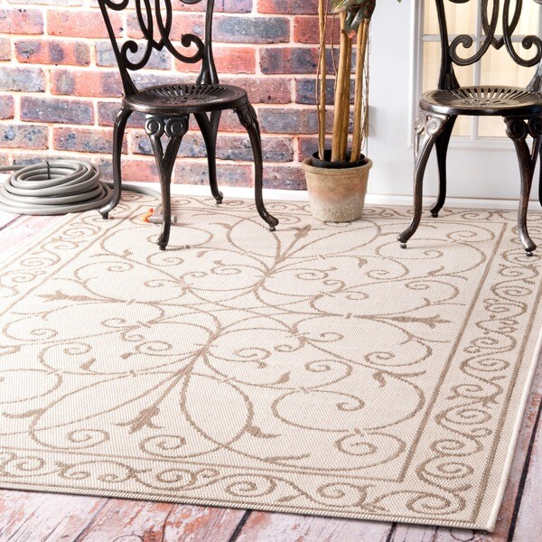 Nuloom indoor outdoor aperto flourish porch rug 9 39 11x for 11x table