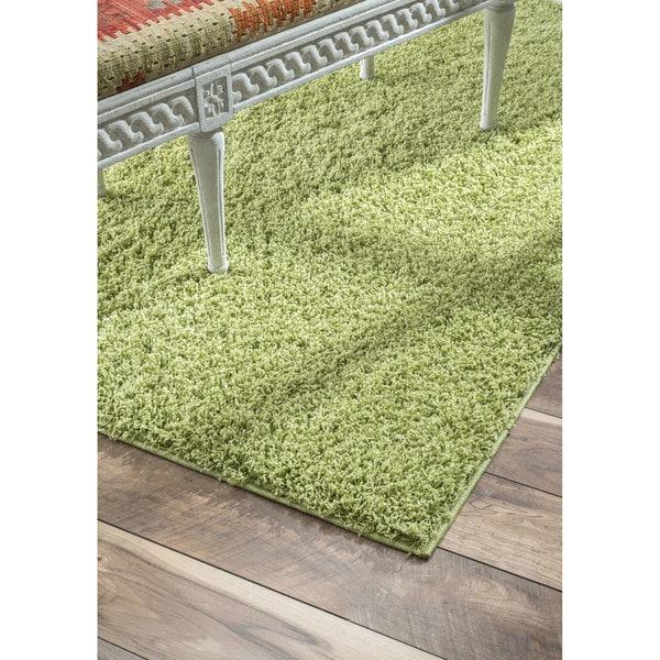 NuLOOM Plush And Soft Shag Thyme Green Rug (9' 2 X 12