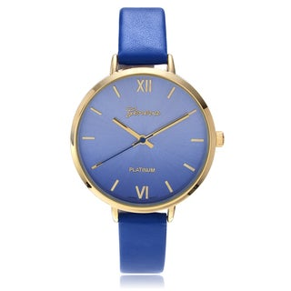 Geneva Platinum Women's Goldtone Ombre Gradient Dial Faux Leather Strap Watch