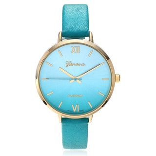 Geneva Platinum Women's Color Gradient Dial Leather Strap Watch