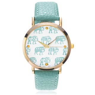 Geneva Platinum Women's Elephant Pattern Dial Leather Strap Watch