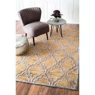 nuLOOM Handmade Wool/ Viscose Raised Trellis Bronze Rug (7'6 x 9'6)