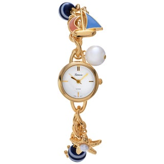 Geneva Platinum Women's Nautical Charm Bracelet Watch