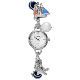 Geneva Platinum Women's Nautical Charm Bracelet Watch
