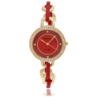 Geneva Platinum Women's Rhinestone Accent Color Dial Bracelet Watch