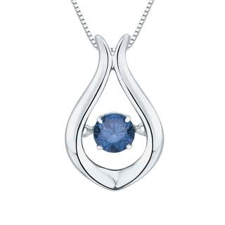 10K White Gold 1/4ct TDW Blue Dancing Diamond Fashion Pendant (Blue,I1)