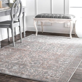 nuLOOM Traditional Vintage Persian Border Grey Rug (7'10 x 10'10)