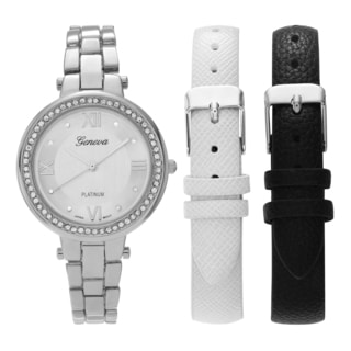 Geneva Platinum Women's Rhinestone Accent Interchangeable Strap Watch Set