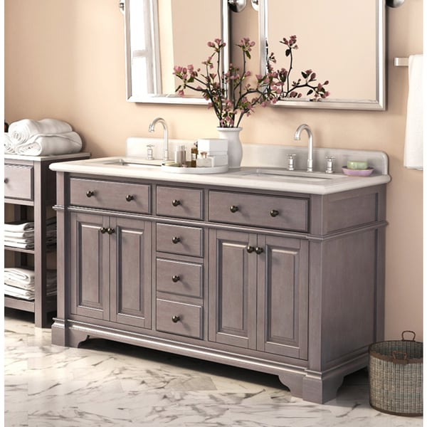Casanova 60 Inch Double Sink Vanity With Backsplash  Free Shipping