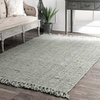 Havenside Home Grayton Handmade Eco Natural Fiber Chunky Loop Jute Grey Rug - 5' x 7'6