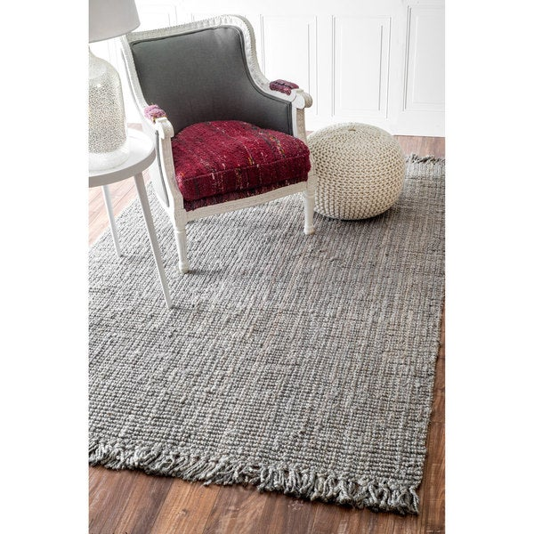 Nuloom Handmade Eco Natural Fiber Chunky Loop Jute Grey