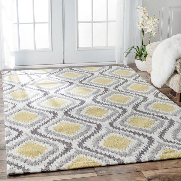 Nuloom Washable Rugs: NuLOOM Handmade Modern Ikat Trellis Sunflower Yellow Rug