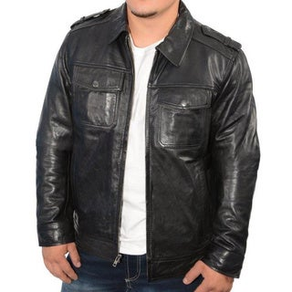 Men's Black Leather Antique Silver Zipper Jumble Jacket
