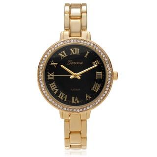Geneva Platinum Women's Rhinestone Accent Skinny Link Watch