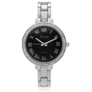 Geneva Platinum Women's Rhinestone Accent Skinny Link Watch