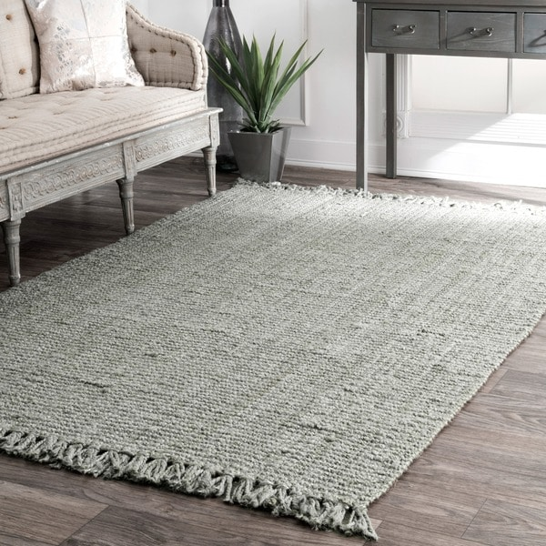 Havenside Home Grayton Handmade Eco Natural Fiber Chunky Loop Jute Grey Rug - 8'6 x 11'6