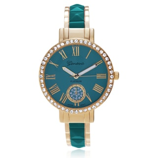 Geneva Platinum Women's Rhinestone Accent Two-tone Adjustable Cuff Watch