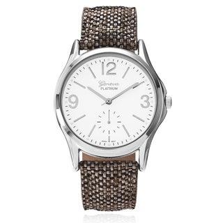 Geneva Platinum Women's Round Face Canvas Leather Strap Watch