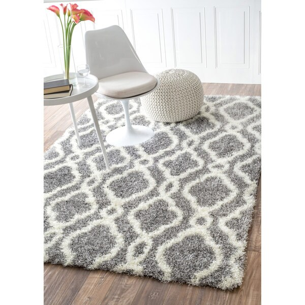 NuLOOM Soft And Plush Looped Diamond Shag Grey Rug (8' X