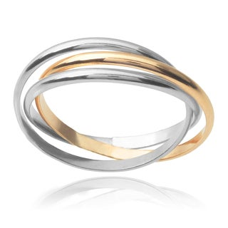 Journee Collection 14k Goldfill Sterling Silver Two-tone 3-band Rolo Ring