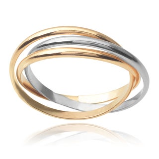 Journee Collection Sterling Silver 14k Goldfill Two-tone Rolling Trio Ring