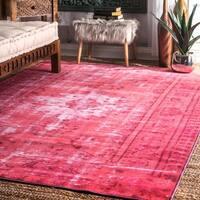 nuLOOM Vintage Inspired Adileh Overdyed Pink Rug (4' x 6')