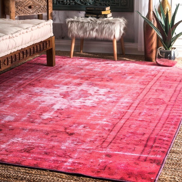Nuloom Vintage Inspired Turquoise Overdyed Rug: Shop NuLOOM Vintage Inspired Adileh Overdyed Pink Rug