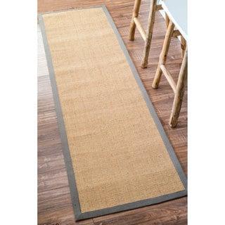 "nuLOOM Handmade Eco Natural Fiber Cotton Border Sisal Light Grey Runner Rug (2' 6"" x 8')"