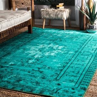 nuLOOM Vintage Inspired Adileh Overdyed Turquoise Rug (4' x 6')