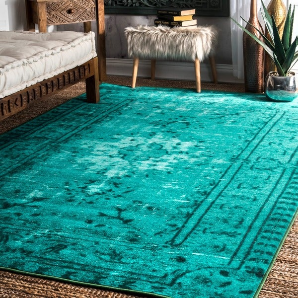 Turquoise Kitchen Rugs New Rug In The: Shop NuLOOM Vintage Inspired Adileh Overdyed Turquoise Rug
