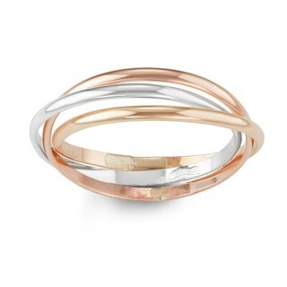 Multi Tone Sterling Silver Interlocking Rolling Ring