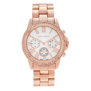 Journee Collection Women's Rhinestone Accent Roman Numeral Link Bracelet Watch