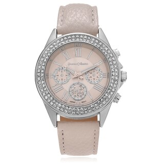 Journee Collection Women's Rhinestone Roman Numeral Leather Strap Watch